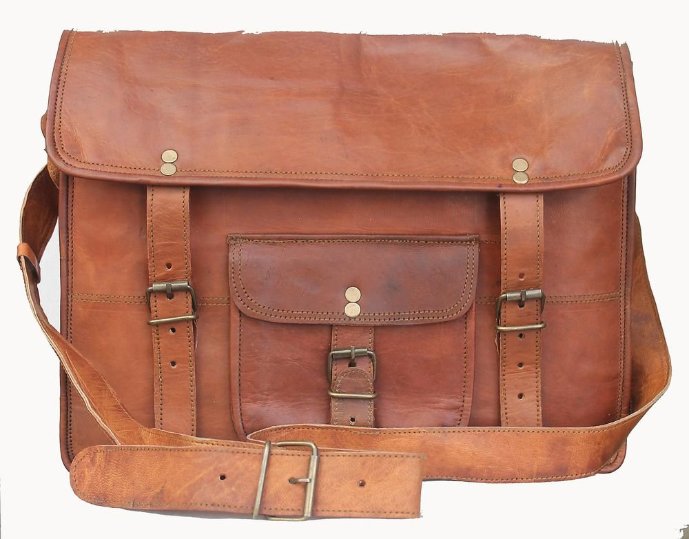 "15"" Stylish Handmade Real Leather Bag, Unisex Laptop Corporate Office Bags #171"
