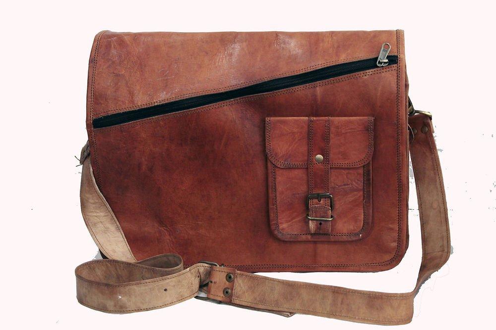 "14"" Stylish Handmade Real Leather Bag, Unisex Laptop Messenger Office Bags #166"