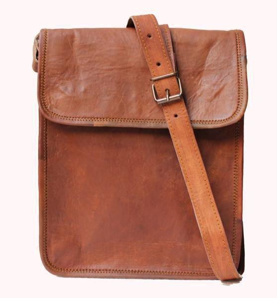 "9"" Genuine Leather Messenger Laptop Bag Office School Books Bag Handmade #135"