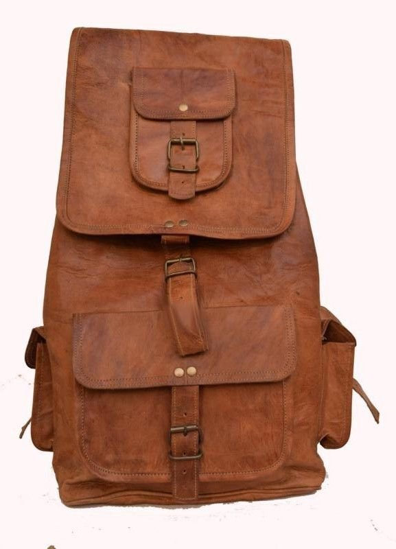 "19"" Retro Original Handmade Leather Bag, Unisex Backpack Trekking Bags #155"