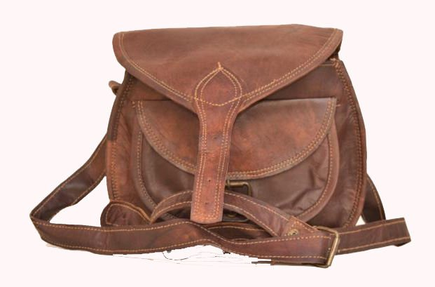 "9"" Original Handmade Leather Bag, Woman Girls Purse Pure Leather India #141"