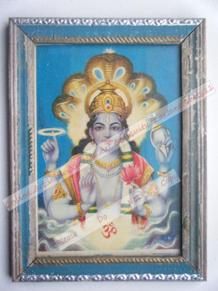 Hindu God Vishnu Rare Vintage Print in Old Wooden Frame Religious Art #2483