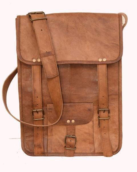 "11"" Retro Original Handmade Leather Bag, Unisex Sling Messenger Cross Bags #154"