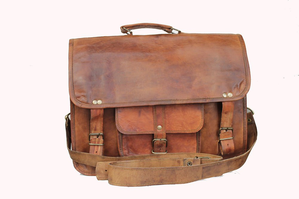 "15"" Stylish Handmade Real Leather Bag, Unisex Laptop Messenger Office Bags #167"