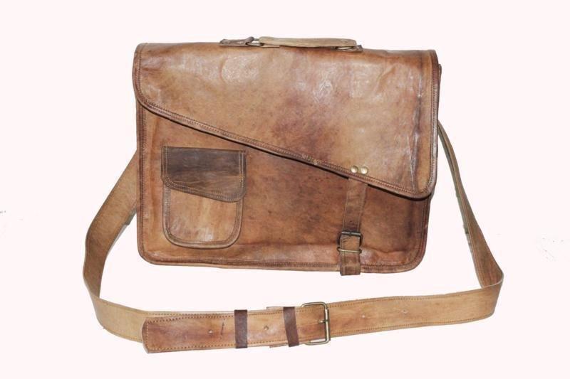 "15"" Stylish Handmade Pure Leather Bag, Unisex Laptop Messenger Office Bags #165"