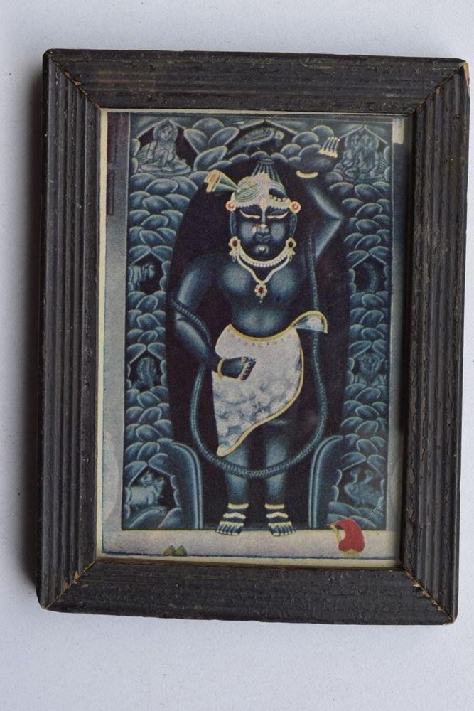 Shrinathji Krishna Old Original Hand Color Painting in Old Wooden Frame #3224