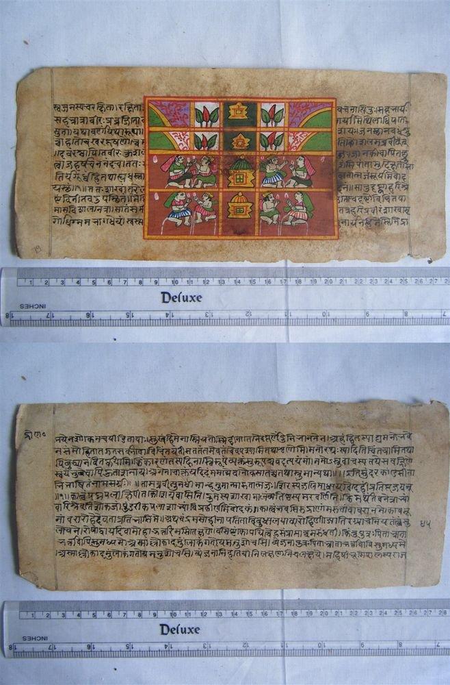 Original Antique Old Manuscript Indian Cosmology New Hand Painting Rare #609