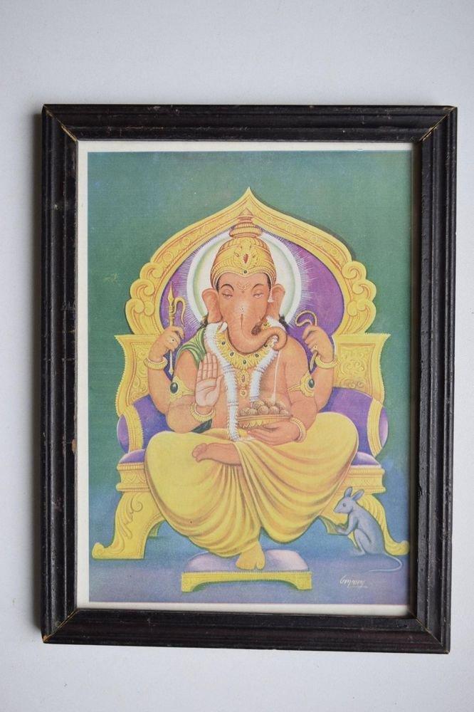 Hindu Elephant God Ganesha Vintage Print in Old Wooden Frame Religious Art #3147