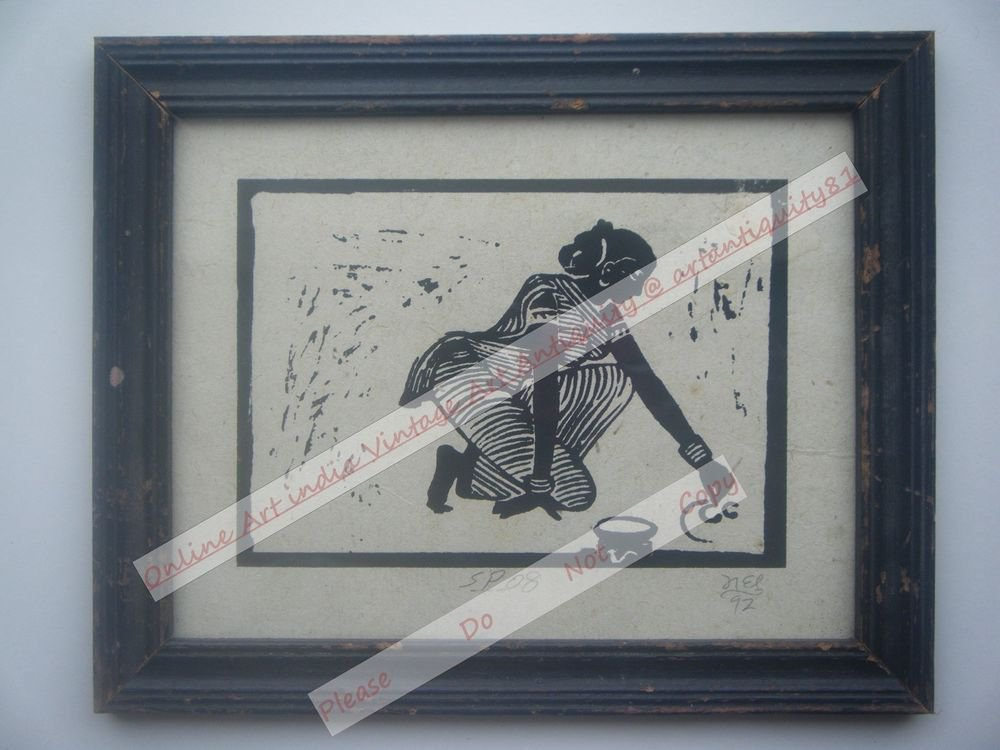 Original Indian Lady Women Signed Art Print in Old Wooden Frame India #2360