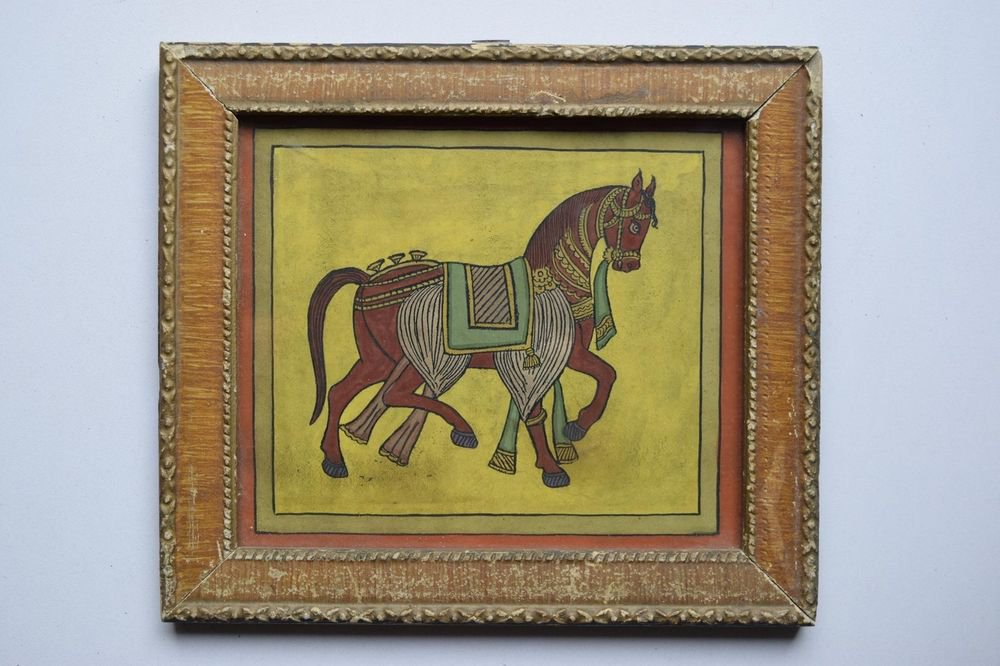 Beautiful Folk Horse Hand Color Painting in Old Wooden Frame India #3094