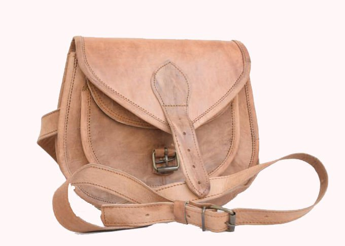 "9"" Original Handmade Leather Bag, Woman Girls Purse Pure Leather India #139"
