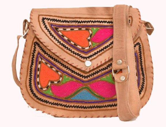 Retro Original Handmade Embroidered Leather Bag, Woman Girls Purse Unique #148