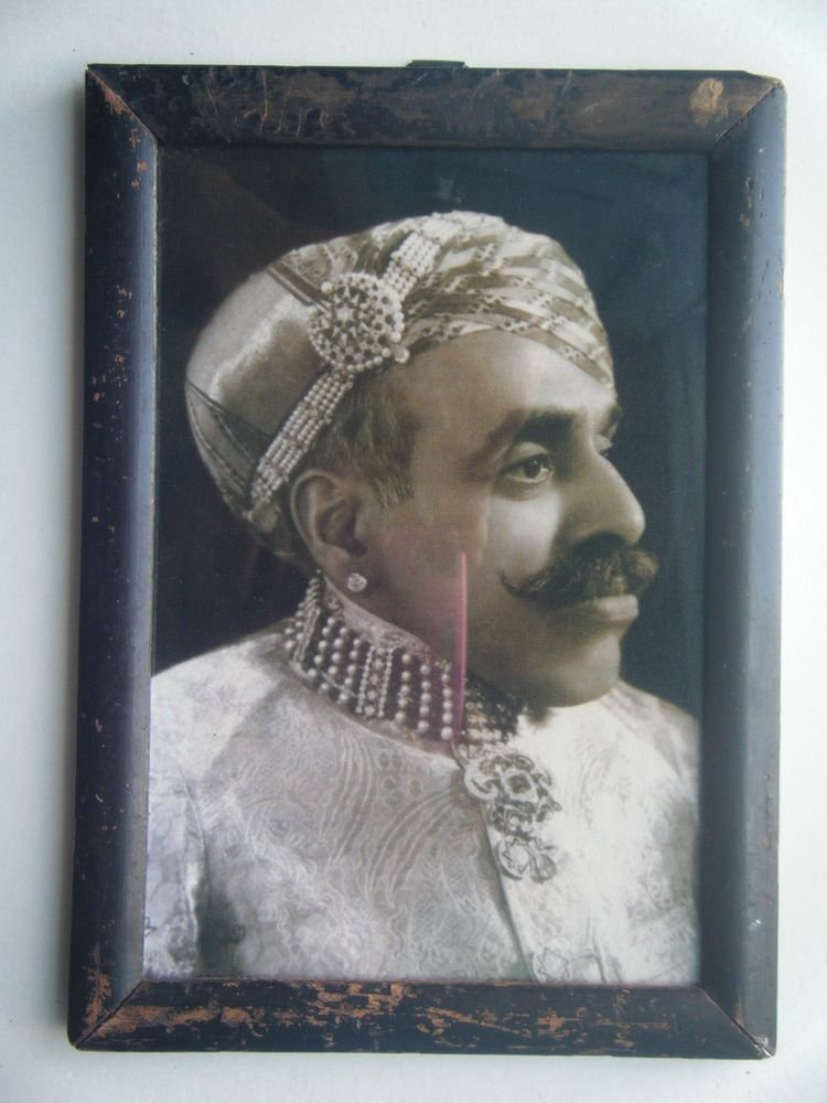 Indian Maharaja Rare Framed Photograph, Vintage Photo in Old Wooden Frame #2707