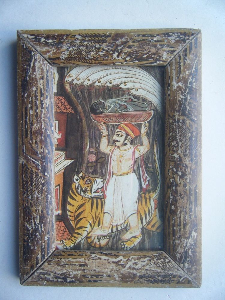 Miniature Old Religious Painting's  Print in Old Wooden Frame India Art #2843