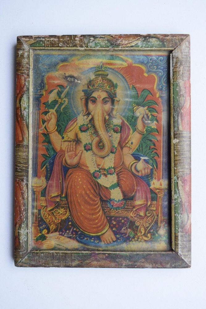 Hindu God Ganesha Collectible Rare Vintage Old Print in Old Wooden Frame #3004