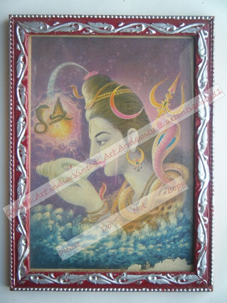 Hindu Lord Shiva Vintage Old Religious Print in Old Wooden Frame India Art #2400