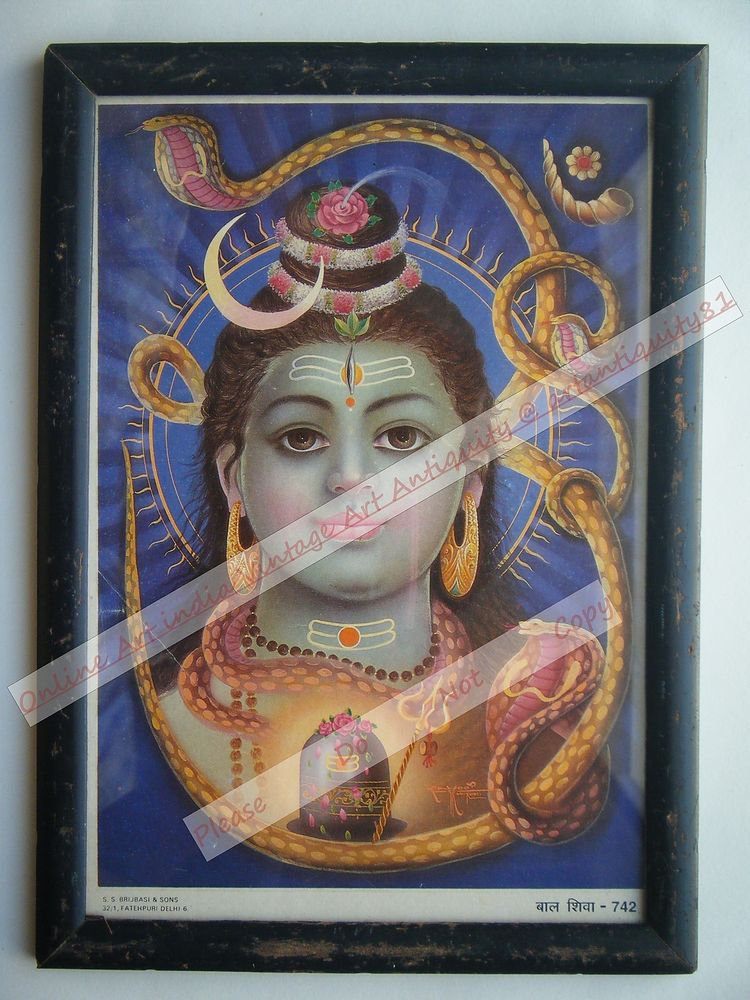Baby Shiva Vintage Old Religious Print in Old Wooden Frame India Art #2387