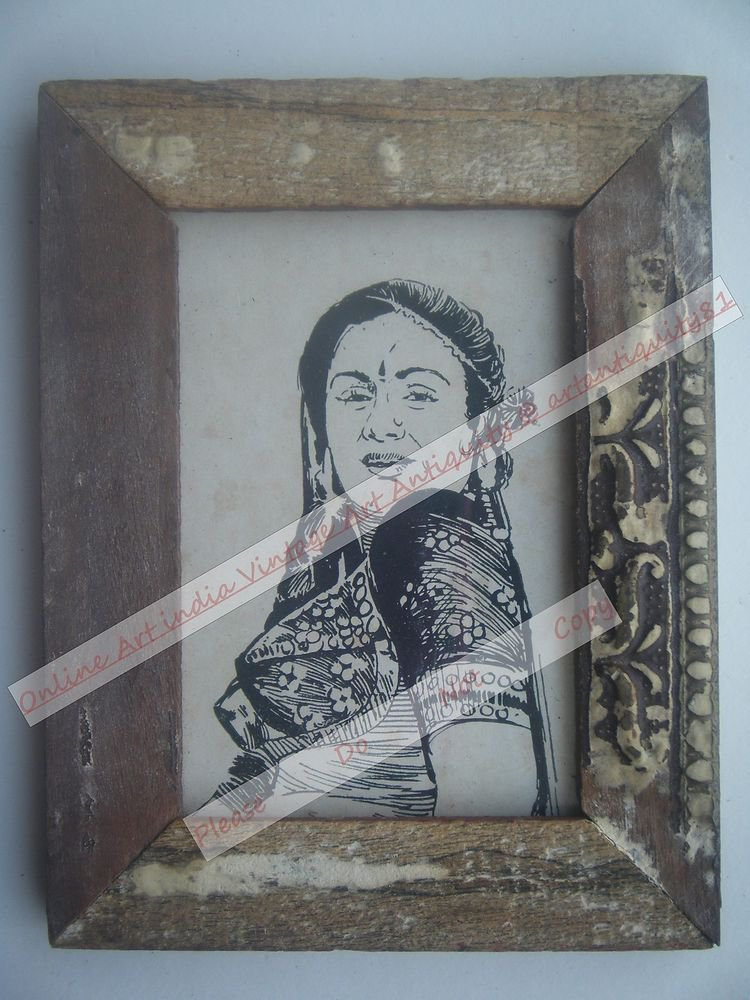Beautiful Woman Lady Signed Art Print in Old Handmade Wooden Frame India #2377