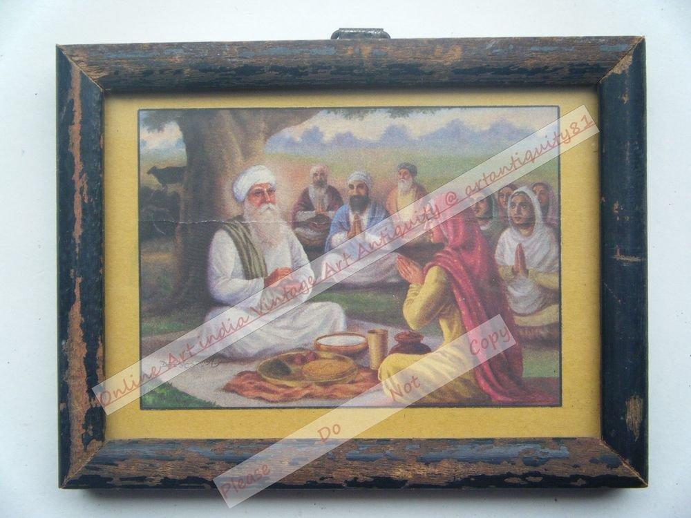 Rare Sikh Guru Sikhism Vintage Print in Old Wooden Frame Religious Art #2538