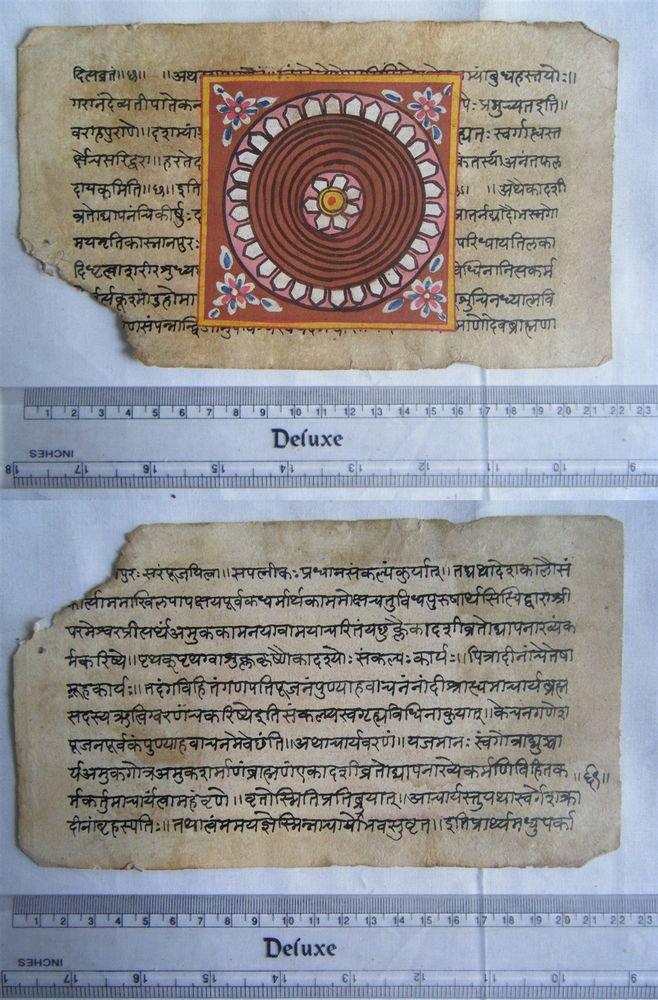 Rare Original Antique Old Manuscript Jain Cosmology New Hand Painting India#631