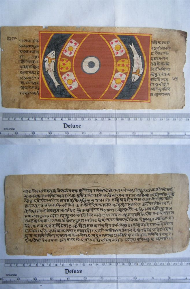 Rare Original Antique Old Manuscript Jain Cosmology New Hand Painting India#633