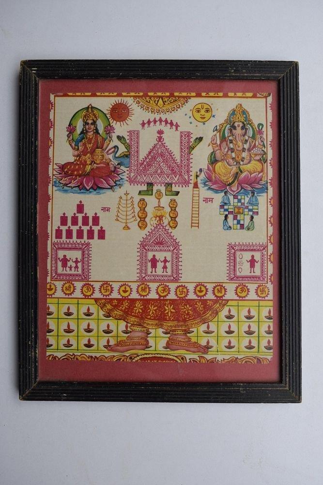 Goddess Laxmi Ahoi Ashatami Rare Vintage Old Print in Old Wooden Frame #3011