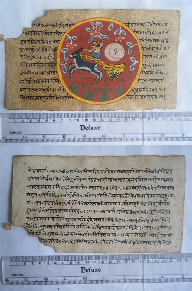 Original Antique Old Manuscript Indian Cosmology New Hand Painting Rare #594