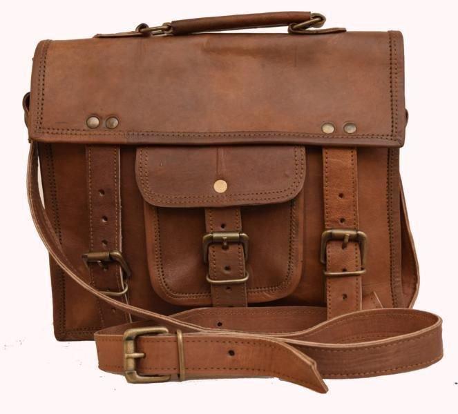 "11"" Classic Original Handmade Leather Bag, Unisex Office Satchel Laptop Bag #160"