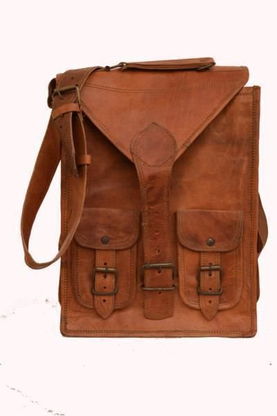 """13"""" Classic Original Handmade Leather Bag, Unisex Office Bags Goat Leather #159"""