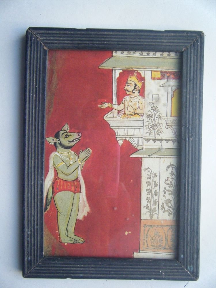 Miniature Old Religious Painting's  Print in Old Wooden Frame India Art #2834