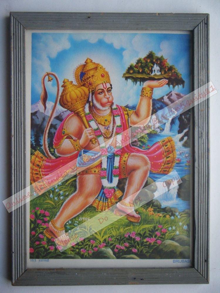 Hindu God Hanuman Vintage Old Religious Print in Old Wooden Frame India Art#2432