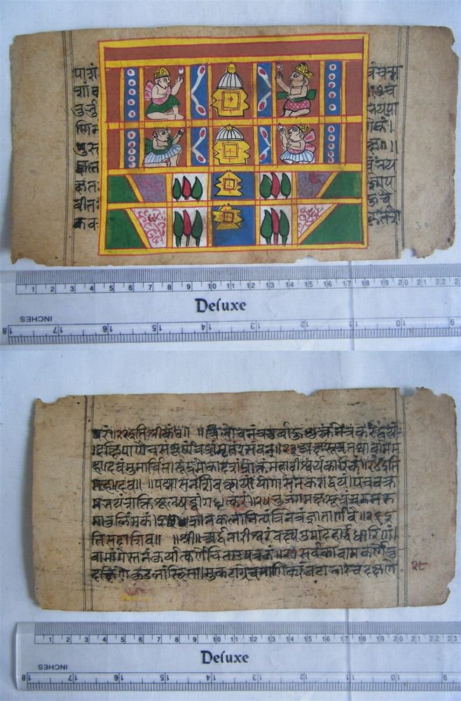 Original Antique Old Manuscript Indian Cosmology New Hand Painting Rare #602