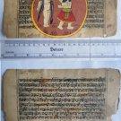 Original Antique Old Manuscript Indian Cosmology New Hand Painting Rare #590