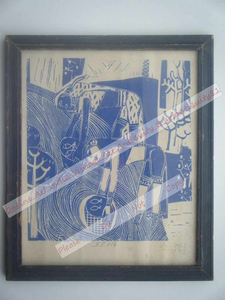 Working Lady Beautiful Signed Art Print in Old Handmade Wooden Frame India #2368