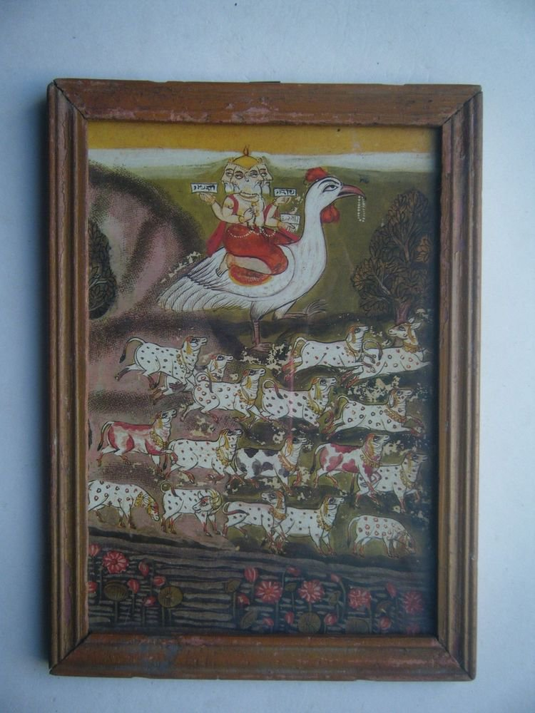 Miniature Old Religious Painting's  Print in Old Wooden Frame India Art #2833