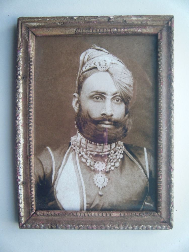 Indian Maharaja Rare Framed Photograph, Vintage Photo in Old Wooden Frame #2705