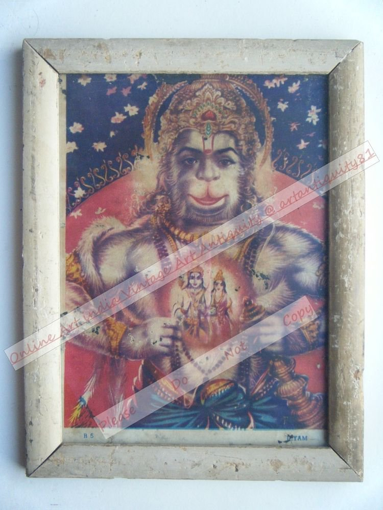 Hindu God Hanuman Vintage Old Religious Print in Old Wooden Frame India Art#2429