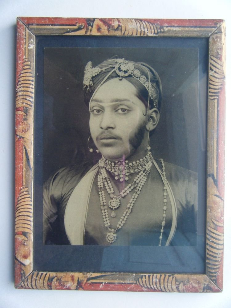 Indian Maharaja Rare Framed Photograph, Vintage Photo in Old Wooden Frame #2716