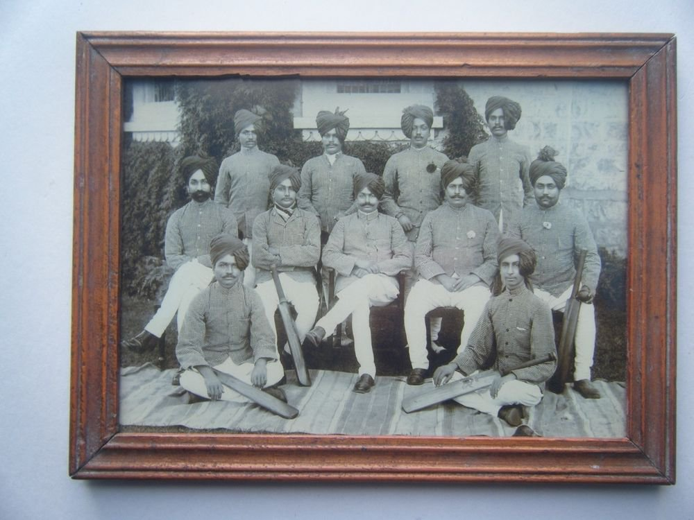 Indian Maharaja Cricket Team Photograph, Vintage Photo in Old Wooden Frame #2717