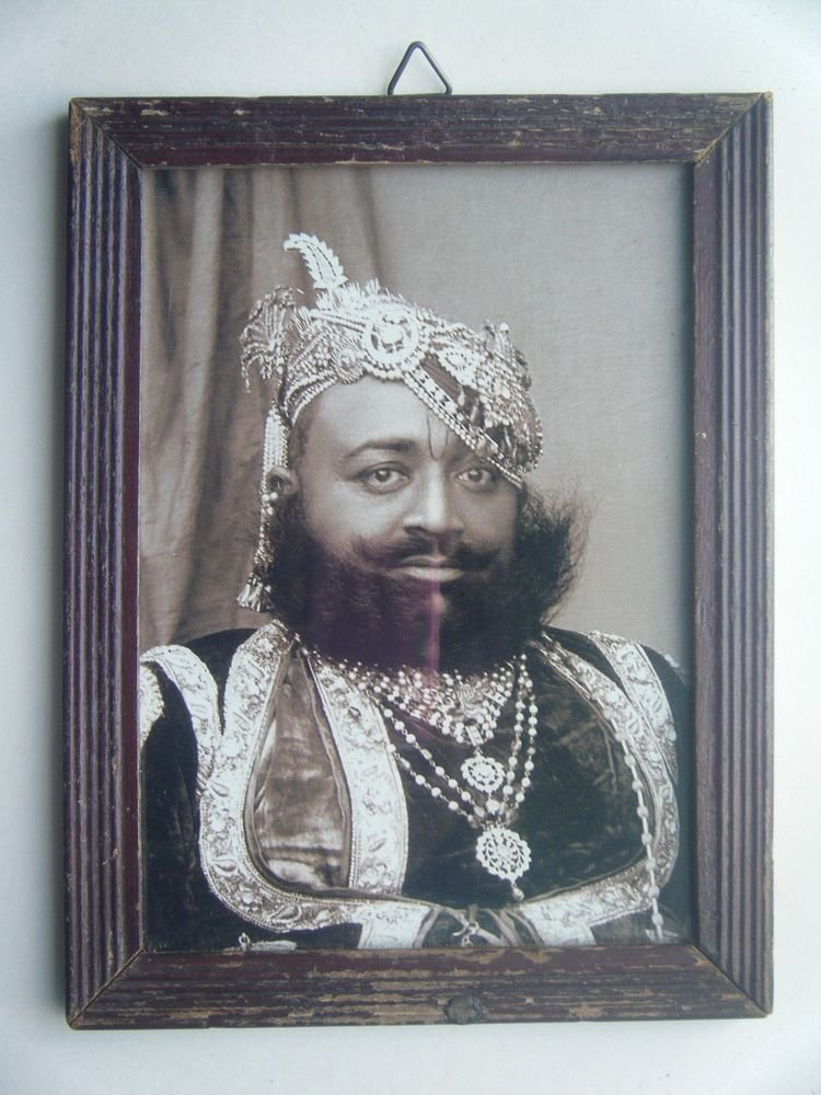 Indian Maharaja Rare Framed Photograph, Vintage Photo in Old Wooden Frame #2696