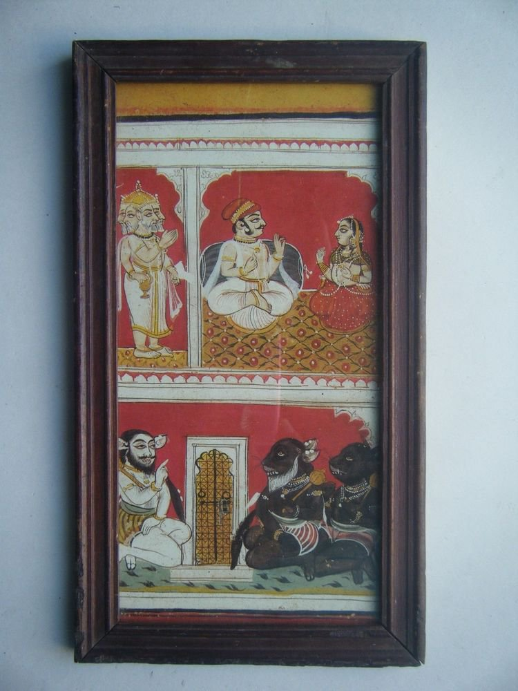 Hindu Gods Old Religious Painting's  Print in Old Wooden Frame India Art #2830