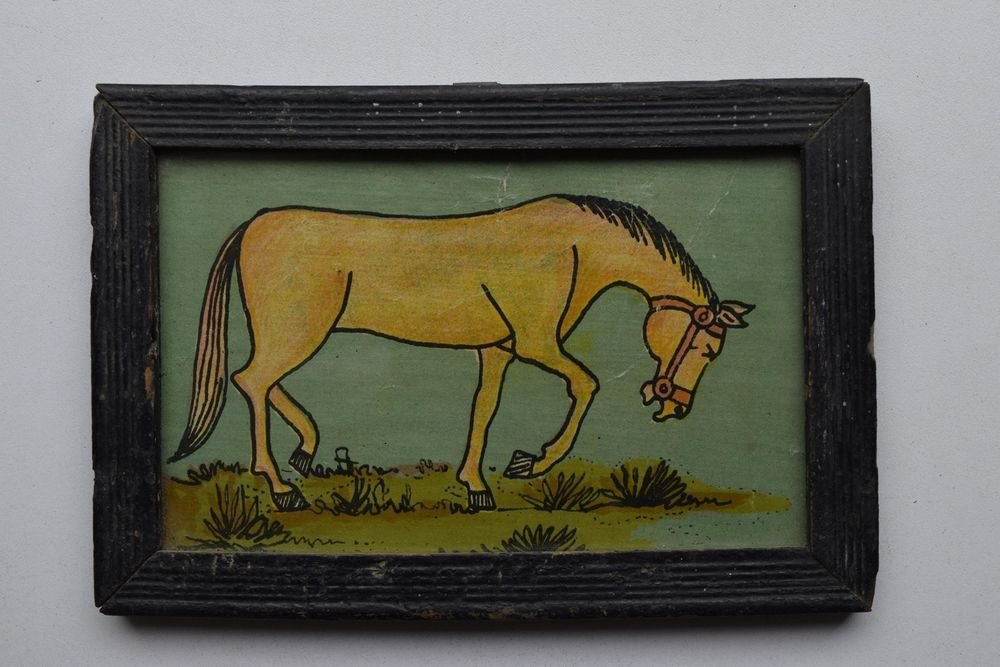 Horse Decorative Beautiful Vintage Old Print in Old Wooden Frame #2998