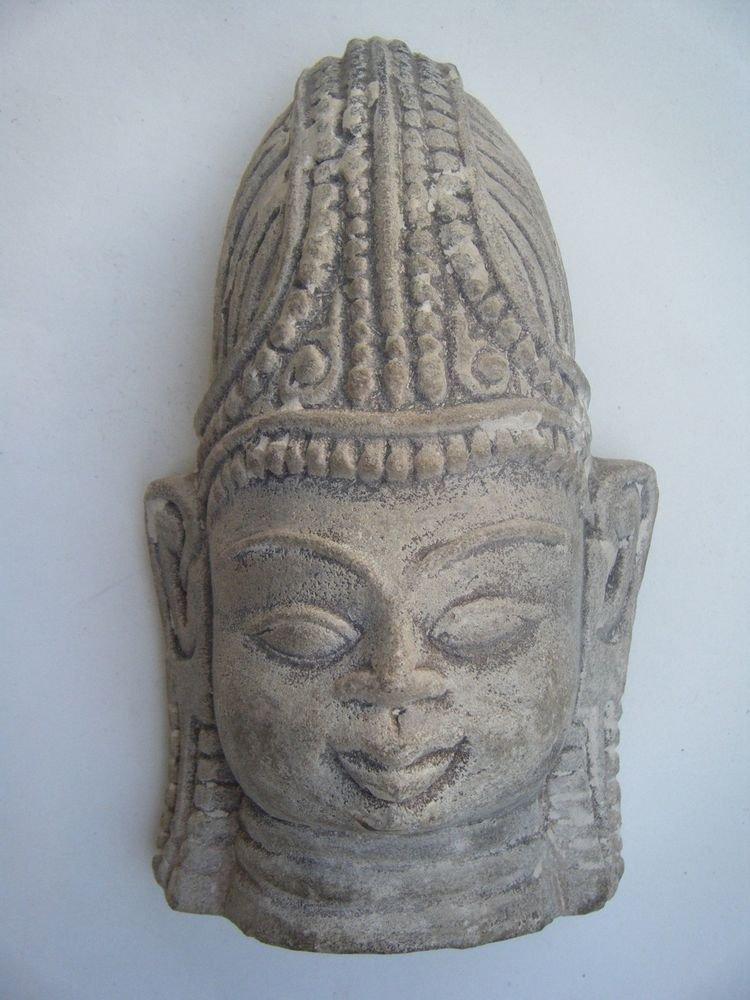 God Stone Statue Head, Vintage Antique Old Hand Carved Original God Head #483