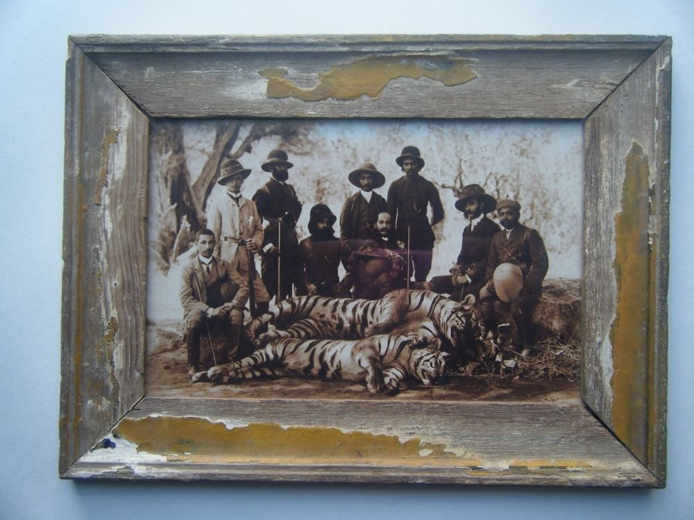 Indian Nizam Hunting Group Photograph, Vintage Photo in Old Wooden Frame #2718