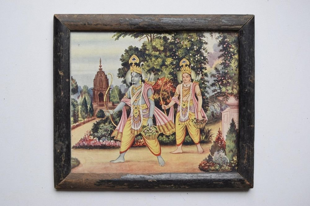 Lord Rama Ramayana Rare Old Religious Print in Old Wooden Frame India Art #3126