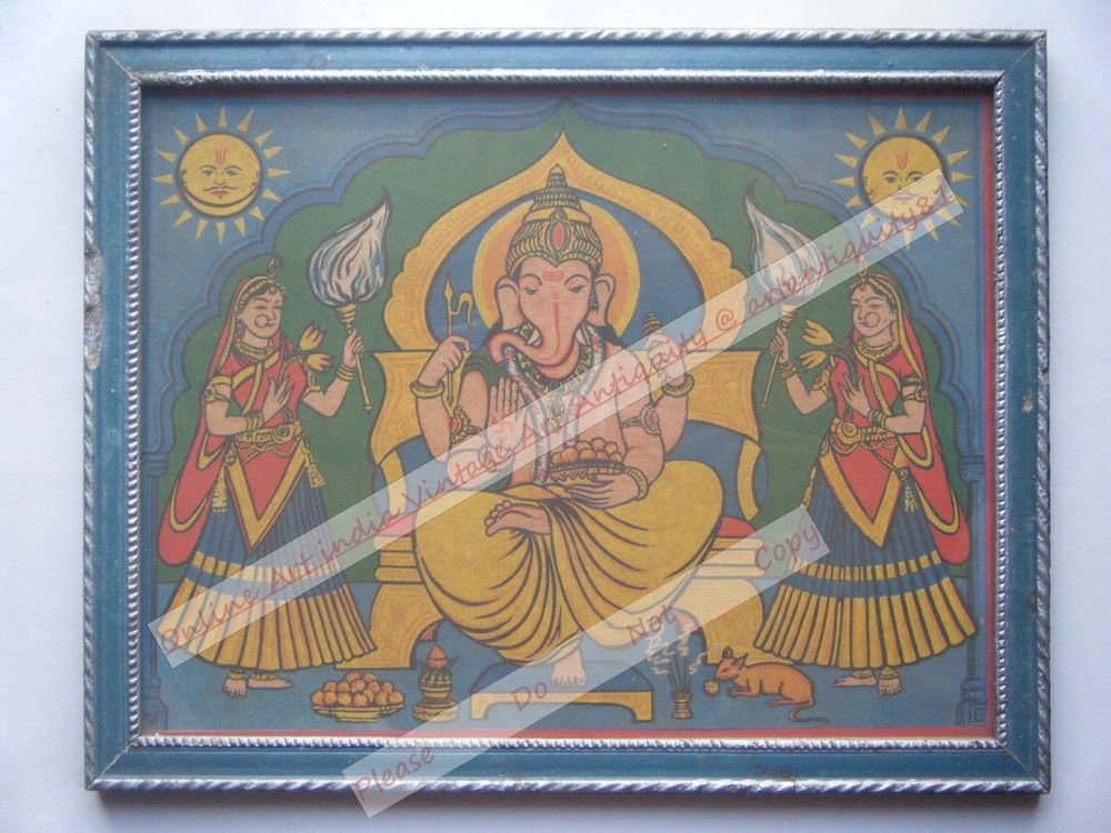 Hindu Elephant God Ganesha Vintage Print in Old Wooden Frame Religious Art #2436