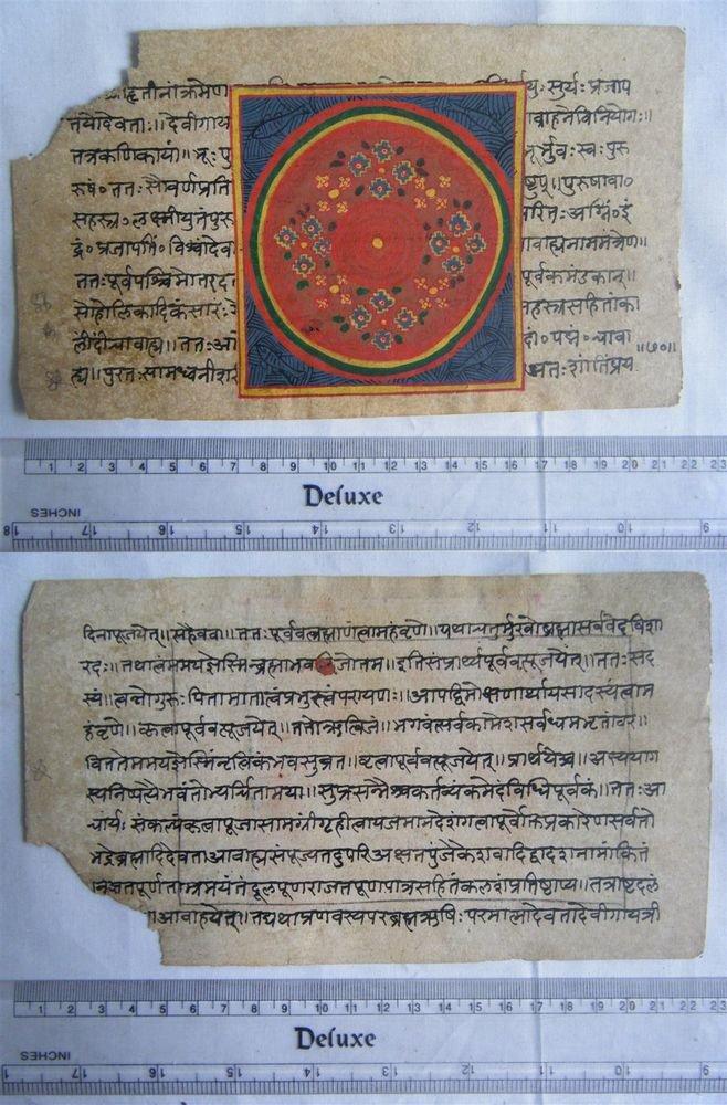 Rare Original Antique Old Manuscript Jain Cosmology New Hand Painting India#632