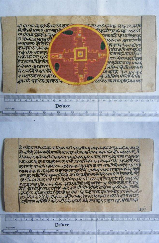 Rare Original Antique Old Manuscript Jain Cosmology New Hand Painting India#641