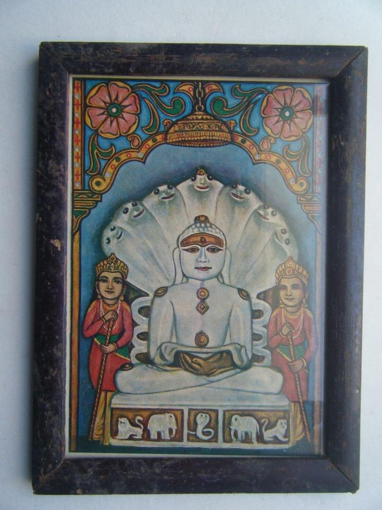 Jain God Jainism Original Vintage Print in Old Wooden Frame Religious Art #2811