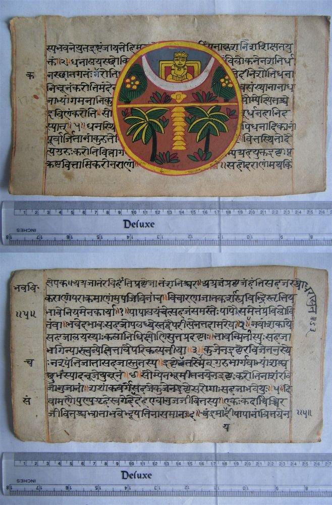 Original Antique Old Manuscript Indian Cosmology New Hand Painting Rare #598